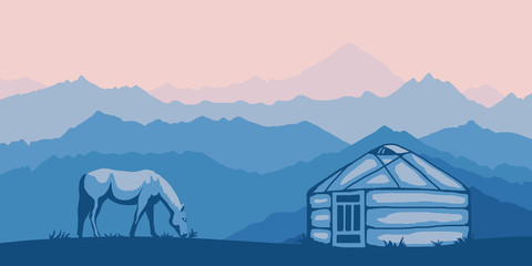 Fantasy on the theme of life in Central Asia. Nomads life, a horse grazes, yurt. Panoramic view, morning haze, vector illustration.