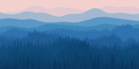 Wall Mural - Hills and mountains covered by forest, taiga. Dawn, the light of sunrise. Fog, morning haze.