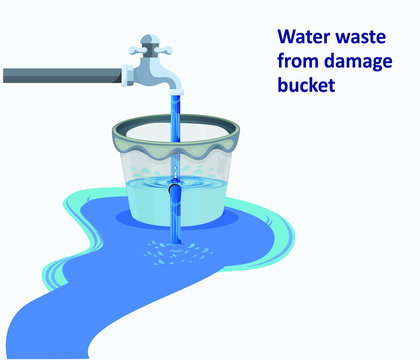 water wastage from damage bucket vector illustration