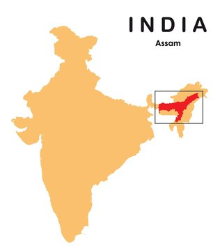 Assam in India map