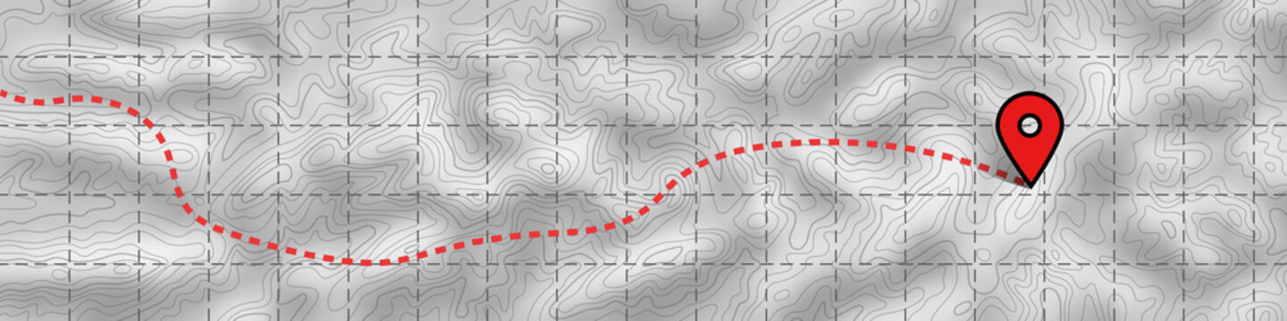 Imitation of a geographical map, climb route. Black lines on white background, vector design, EPS10