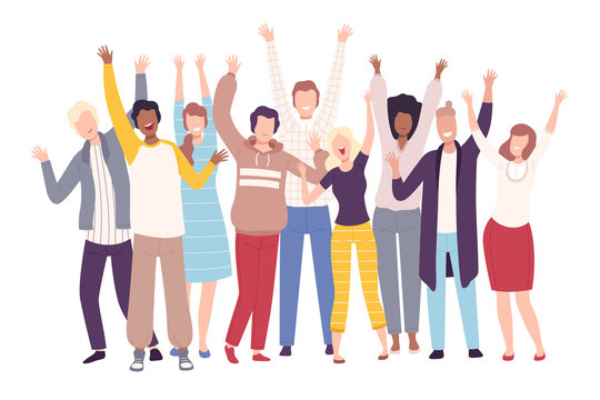 Group of People Standing with Raising Hands, Young Men and Women Having Fun or Celebrating Success Flat Vector Illustration