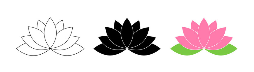 Lotus flowers. Lotus in flat deisgn, isolated on white background. Lotus Flower Logo. Flowers Harmony icons. Vector illustration