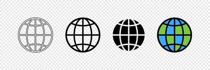 Fototapeta Earth globes in web design. Earth globe in modern simple flat design, isolated on transparent background. World maps in a row, web icons. Simple globe icons. Vector illustration obraz