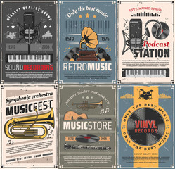 Music and sound recording retro posters. Vector vintage cards with audio gramophone, podcast station and microphone, headphones and vinyl records, trumpet, cornet and clarinet instruments, guitar