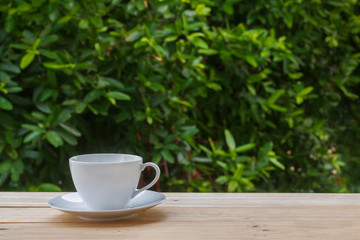 Image of clean empty white coffee cup or teacup and the plate put on old wooden table and blurry fresh green leaves tree in natural background with morning soft lighting and copy space.