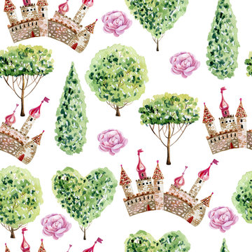 Seamless pattern of a castle.