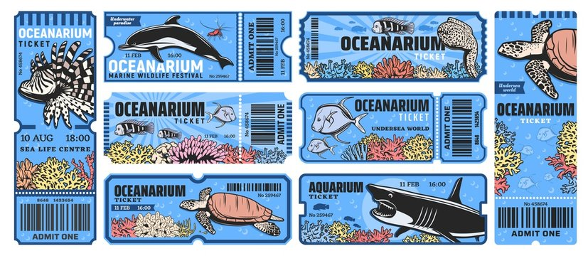 Oceanarium park tickets, aquarium zoo with sea underwater animals as a shark, angelfish, lionfish, dolphin and turtle, moray eel and prawn, corals. Vector admit tickets template with cut line