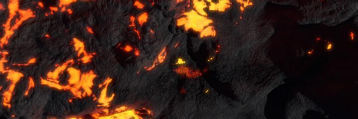 lava field, fiery magma flow, molten rock landscape Wall mural