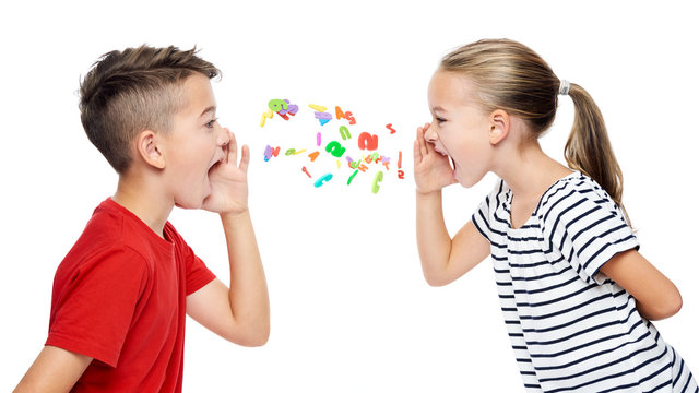 Children shouting out alphabet letters. Speech therapy concept over white background.