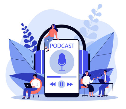 People listening speakers from broadcasting station flat vector illustration. Man and woman listening podcast online Anchorperson sitting and talking to microphone. Radio and technology concept