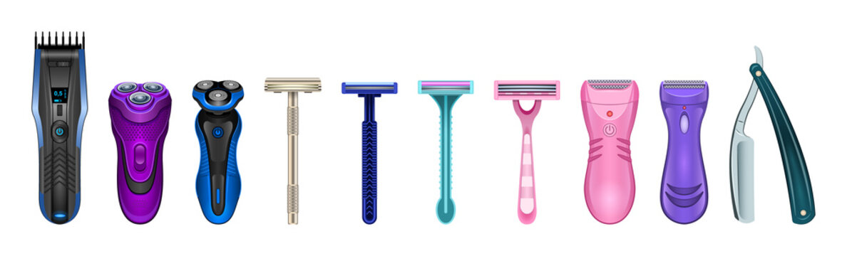 Razor isolated realistic set icon. Vector illustration shaver on white background . Vector realistic set icon accessory for shave.