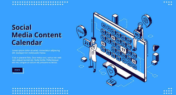 Social media content calendar isometric landing page, man and woman near huge desktop with month dates on screen, planning optimization marketing strategy, scheduling 3d vector line art web banner