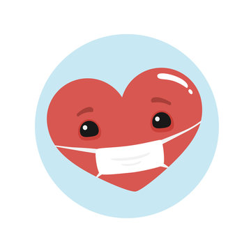 Vector cute heart character with medical virus mask. To see the other vector heart character illustrations , please check Cartoon Heart Characters collection.
