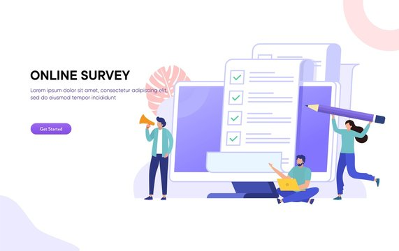 online polling & survey vector illustration concept, people filling online survey form on laptop, to do list paper note,  can use for, landing page, template, ui, web, homepage, poster, banner, flyer