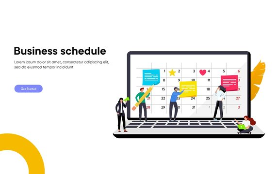 happy business team make an agenda appointment in the laptop vector illustration concept, time management organization at work can use for, landing page, template, ui, web, homepage, poster, banner