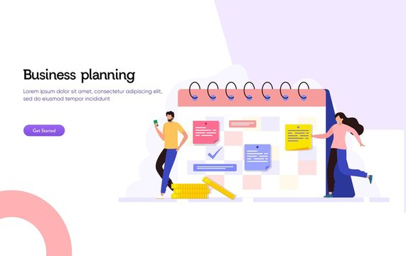 Business agenda appointment vector illustration concept, Happy man and woman making business schedule with calender can use for, landing page, template, ui, web, homepage, poster, banner, flyer