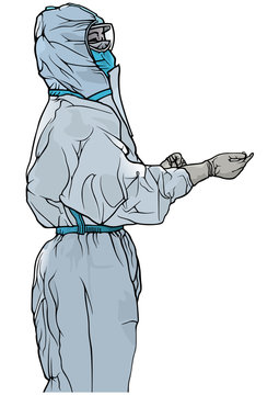 Man in Protective Suit and Protective Mask - Illustration with Medical Theme in Fighting with Viral Epidemic, Vector
