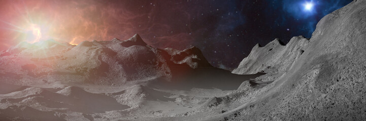 astronaut exploring alien world landscape, beautiful environment on the surface of a distant planet