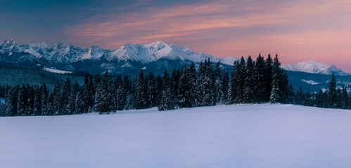 Fotomurales - Beautiful winter mountain landscape before sunrise-Tatry, Poland.Panorama