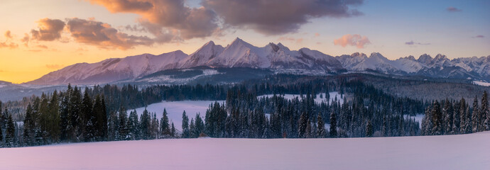 Wall Mural - Beautiful winter mountain landscape at sunrise-Tatra Mountains, Poland.Panorama