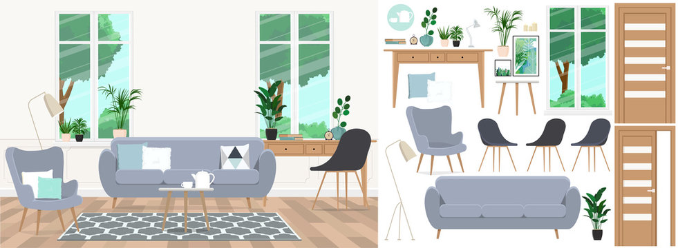 A set of furniture and decor to create a living room interior with a workplace.