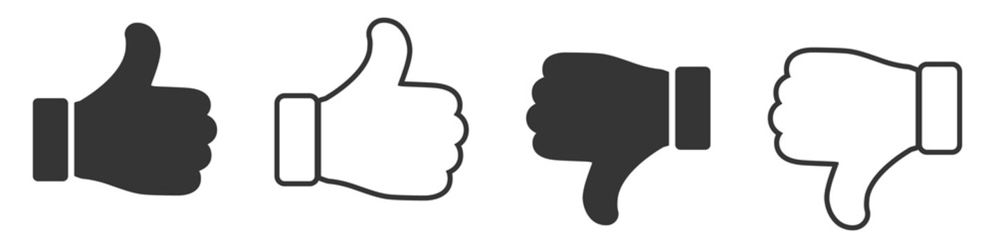 Set of Like icons. Up and down thumbs icon.