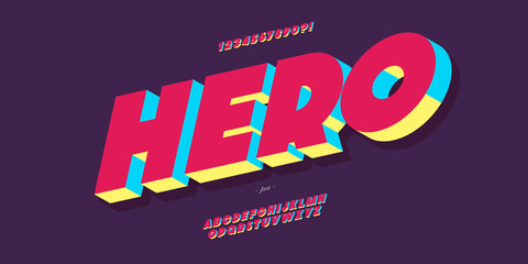 Vector hero font 3d bold colorful style modern typography for poster, event decoration, motion, video, game, t shirt, book, banner, printing. Cool typeface. Trendy alphabet. 10 eps