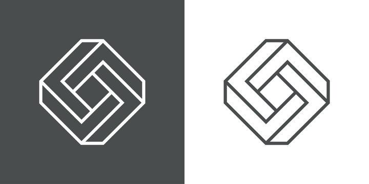 Icono lineal rombo tridimensional en perspectiva imposible en fondo gris y fondo blanco