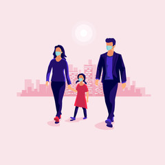 Family walking and wearing protection medical face mask to protect against virus. Man woman and child with fear and protection on head. Pink vector illustration with city skyline in the background.