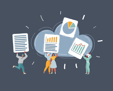 illustration of group of people save their files on clouds storage.