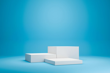 White podium shelf or empty studio display on vivid blue summer background with minimal style. Blank stand for showing product. 3D rendering. Fotobehang