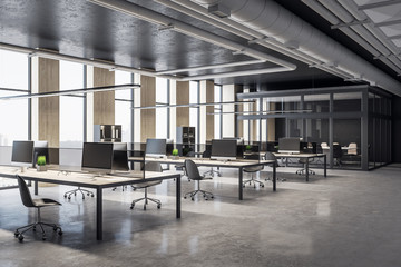 Contemporary coworking office interior room