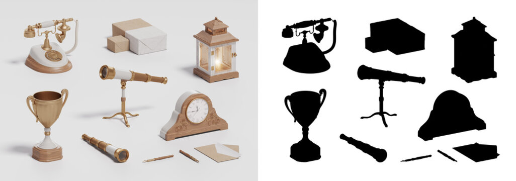 win cup, retro collection, vintage set on white background, 3D illustration