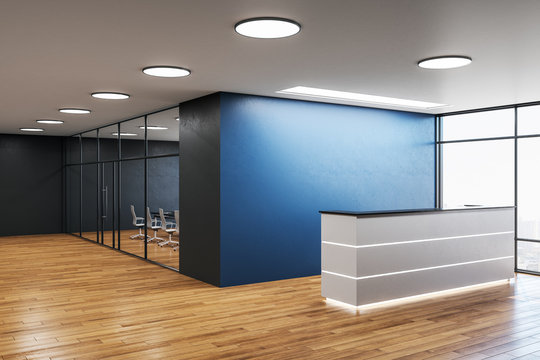 Modern office hall with reception desk