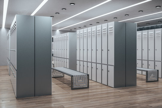 Modern white locker room interior
