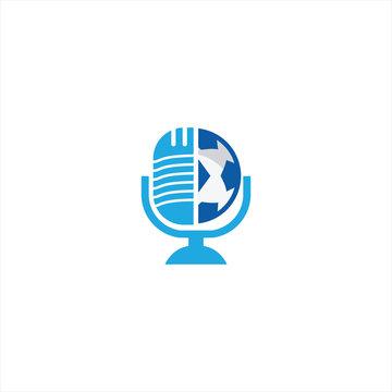 Soccer podcast logo design. Broadcast entertainment business logo template vector illustration.