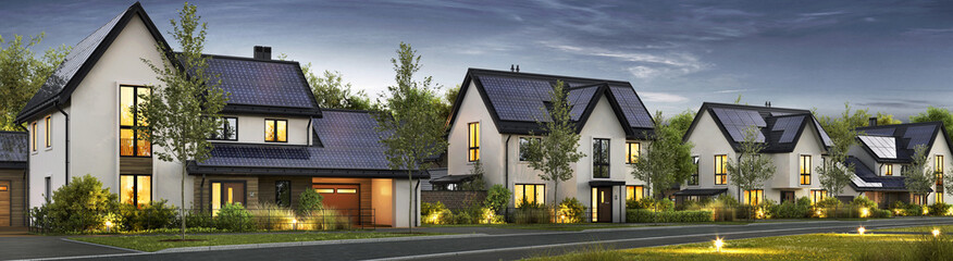 Modern beautiful houses with solar panels on the roof