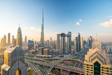 Spoed Fotobehang Dubai Sunrise view over Dubai Downtown skyline