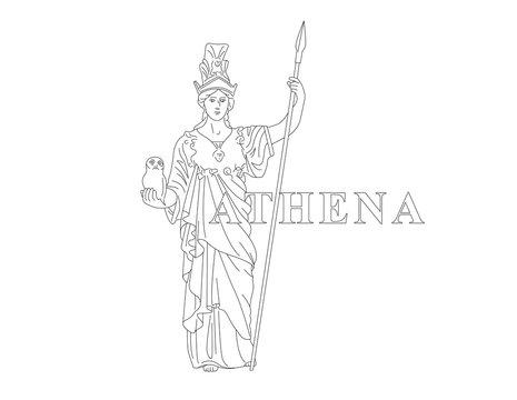 Athena. Greek Goddess of reason, wisdom, intelligence, skill, peace, warfare, battle strategy, and handicrafts. Editable line drawing illustration with antiqua text