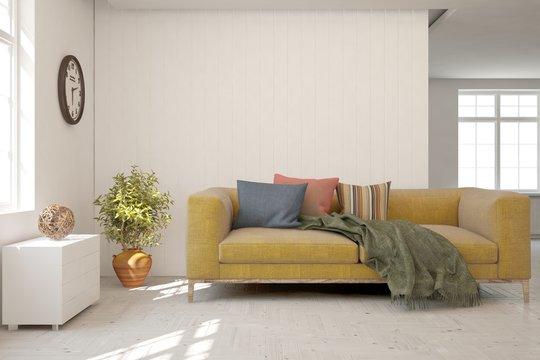 Modern living room in white color with sofa. Scandinavian interior design. 3D illustration