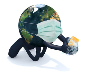 planet earth with surgery mask washes his hands, 3d illustration