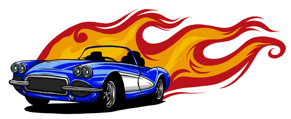 vector muscle car with flames Crazy race Fotobehang