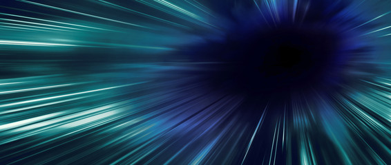 Panoramic high speed technology moving concept, light abstract background with black color space for copyspace
