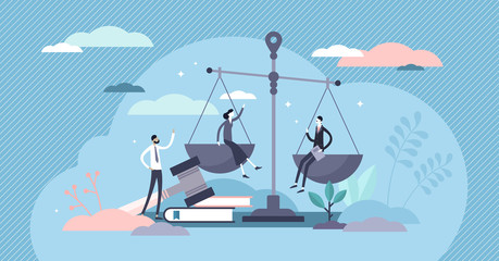 Justice concept, tiny persons vector illustration