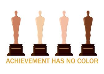 Oscar academy award trophy with diffrent skin tone color.