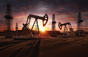 Saudi price war, oil market prices drop concept. Oil pumps, drilling derricks from oil field silhouette at sunset. Crude oil industry, petroleum production 3D background with pump jacks, drill rigs