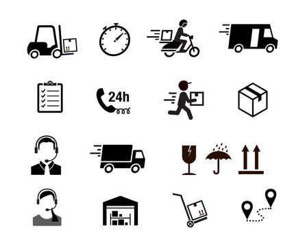 Set of express delivery icons. Vector elements. Can use for your design, interface, website, infographic and etc. Prepared for use in any size on different devices. EPS10.