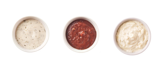Set of different sauces isolated on white background, top view.