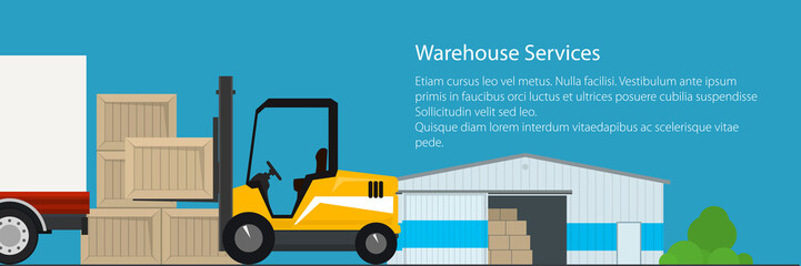Banner of warehouse services , warehouse with forklift truck on the background of the city, transportation and cargo services and storage, vector illustration